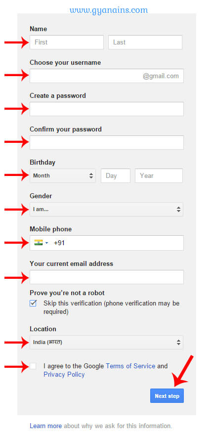 gmail create account form