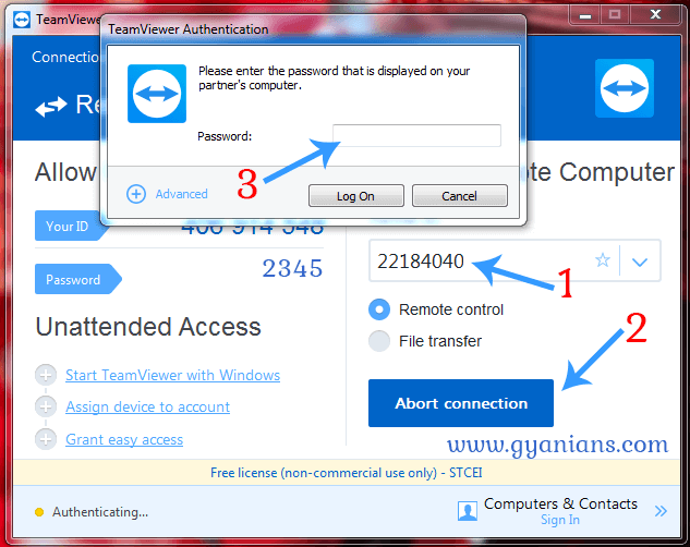 teamviewer partner id and password