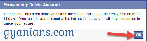 facebook id delete option