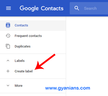 google contact label - gyanians