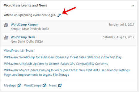 New WordPress Events and News Dashboard Widget