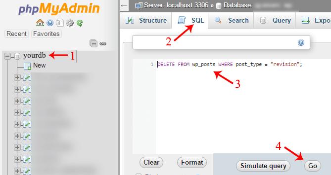 post revisions delete sql query