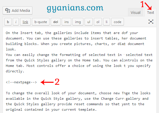 add nextpage tag in posts