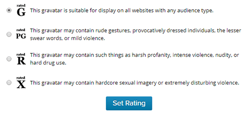 choose a rating for your gravatar