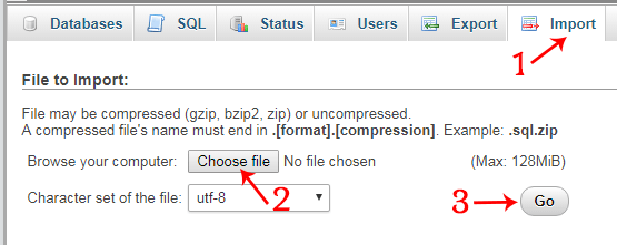 import database file in phpmyadmin