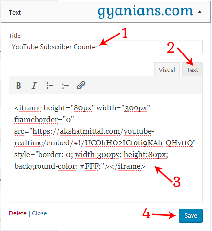 paste Real-Time YouTube Subscriber Counter code in wordpress text widget