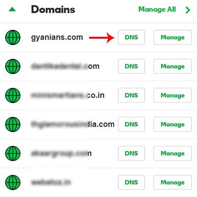 Open Domain DNS settings