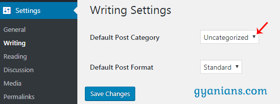 Set default post category