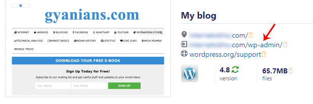 WordPress Installation process complete page