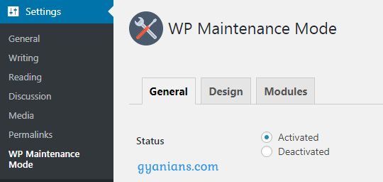 wp Maintenance Mode plguin settings