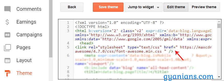 add font awesome icons in blogger