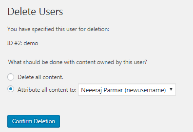 delete wordpress user step 2