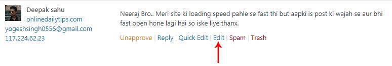 Click on comment edit option