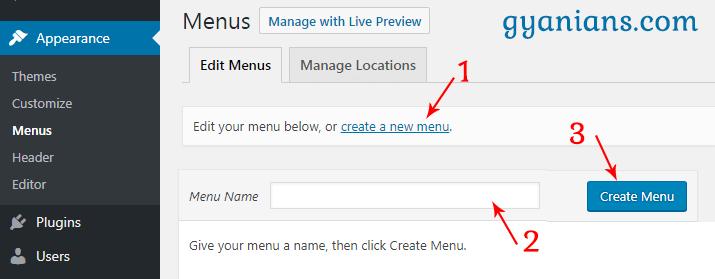 create new menu in wordpress