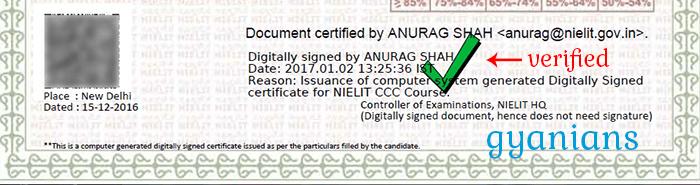 CCC Certificate Digital Signature Verified