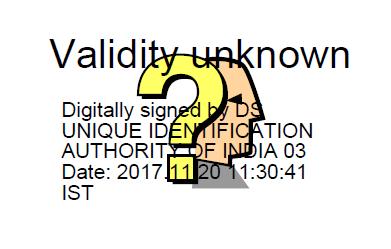 aadhaar card digital signature question mark