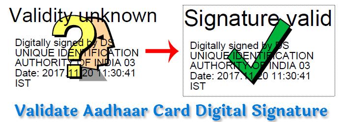 aadhaar card digital signature verify kaise kare