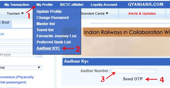 enter aadhaar card number irctc