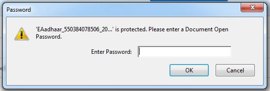 enter aadhaar card pdf file password