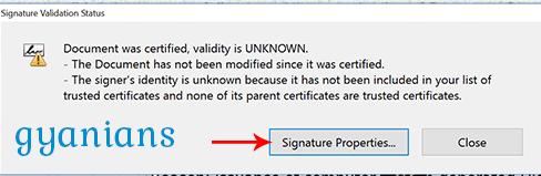 signature validation status popup