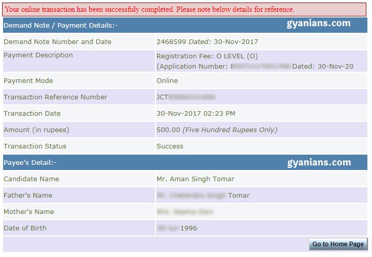 O level registration payment details
