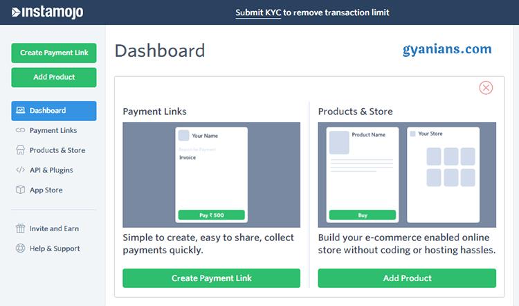 instamojo payment gateway dashboard