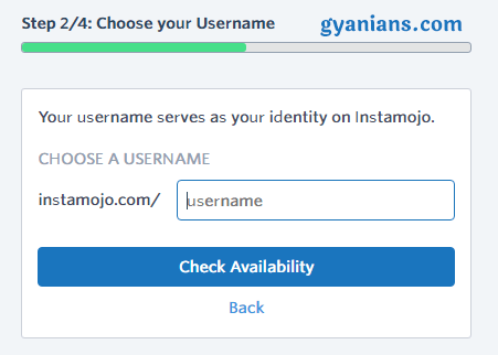 select instamojo username