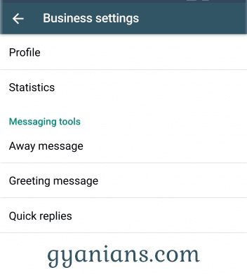 WhatsApp Business app business settings