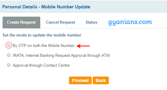by otp on both the mobile number in sbi online