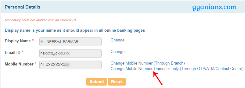 change mobile number domestic only sbi online