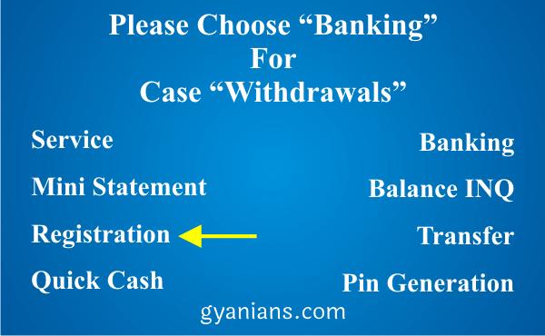 change registered mobile number using ATM step 1