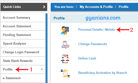 click profile then personal detais in sbi online