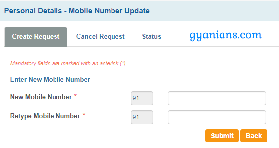 enter new number for update registered mobile number in sbi online
