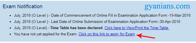 click on o level exam form link