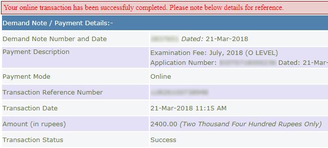 o level exam form payment response slip