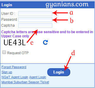 IRCTC online ticket booking login form