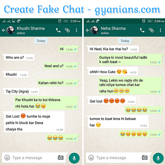 Kaise Fake WhatsApp Chat Banaye Friends Se Prank Karne Ke Liye - gyanians