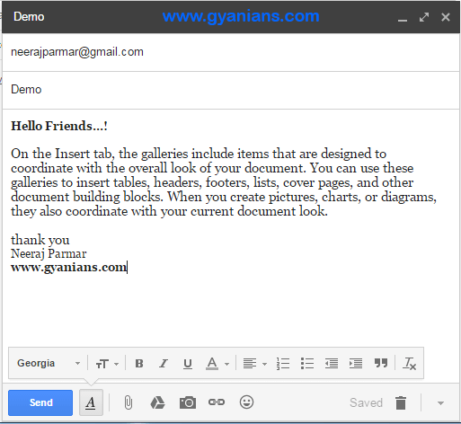 gmail compose box - gyanians