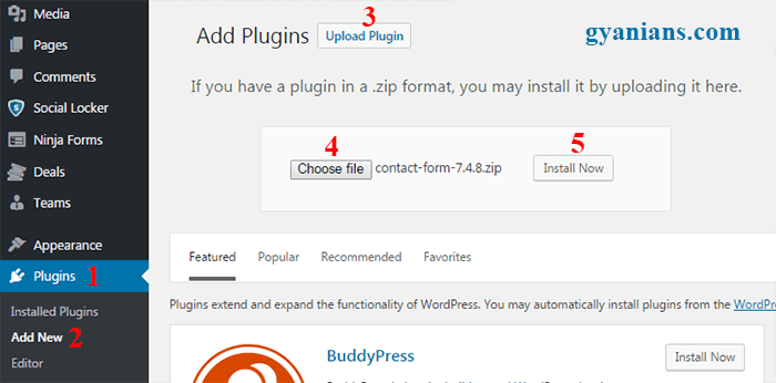 Uplaod wordpress plugins