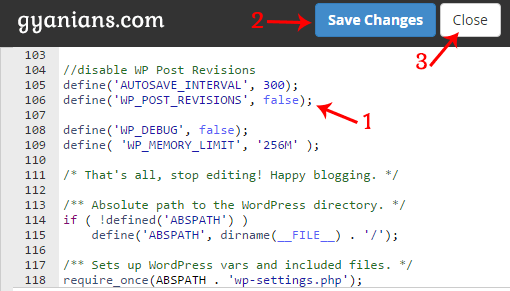 paste post revisions code