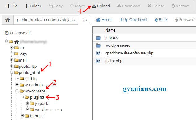 upload plugins using cpanel