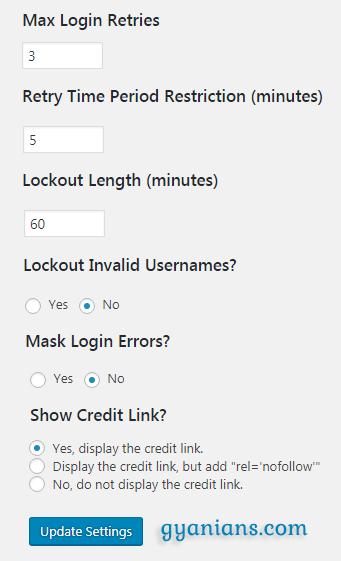 Login LockDown Plugins settings