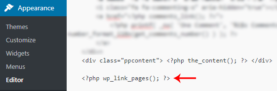 add wp_link_pages function