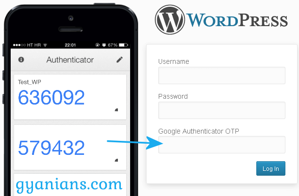 enter Google Authenticator code in wordpress