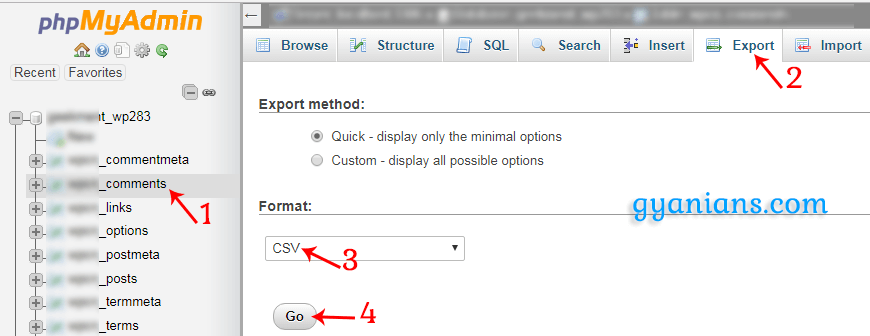 export wordpress commenter records using phpmyadmin