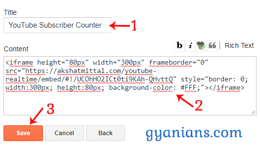 paste Real-Time YouTube Subscriber Counter code in blogger html gedget