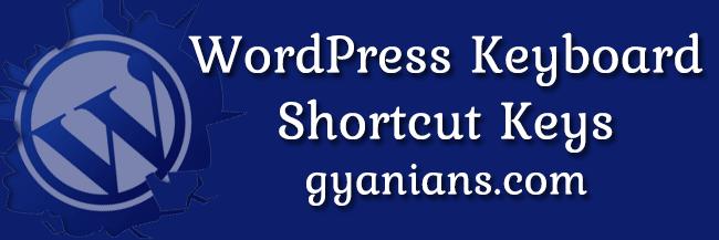 WordPress Keyboard Shortcut Keys in hindi