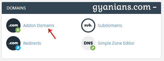addon domain option in cpanel