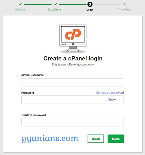 create a cPanel login in godaddy