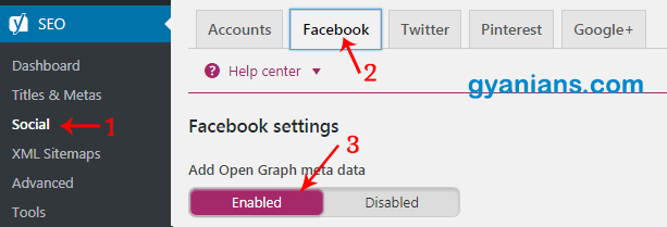 Enabled Facebook open graph meta data
